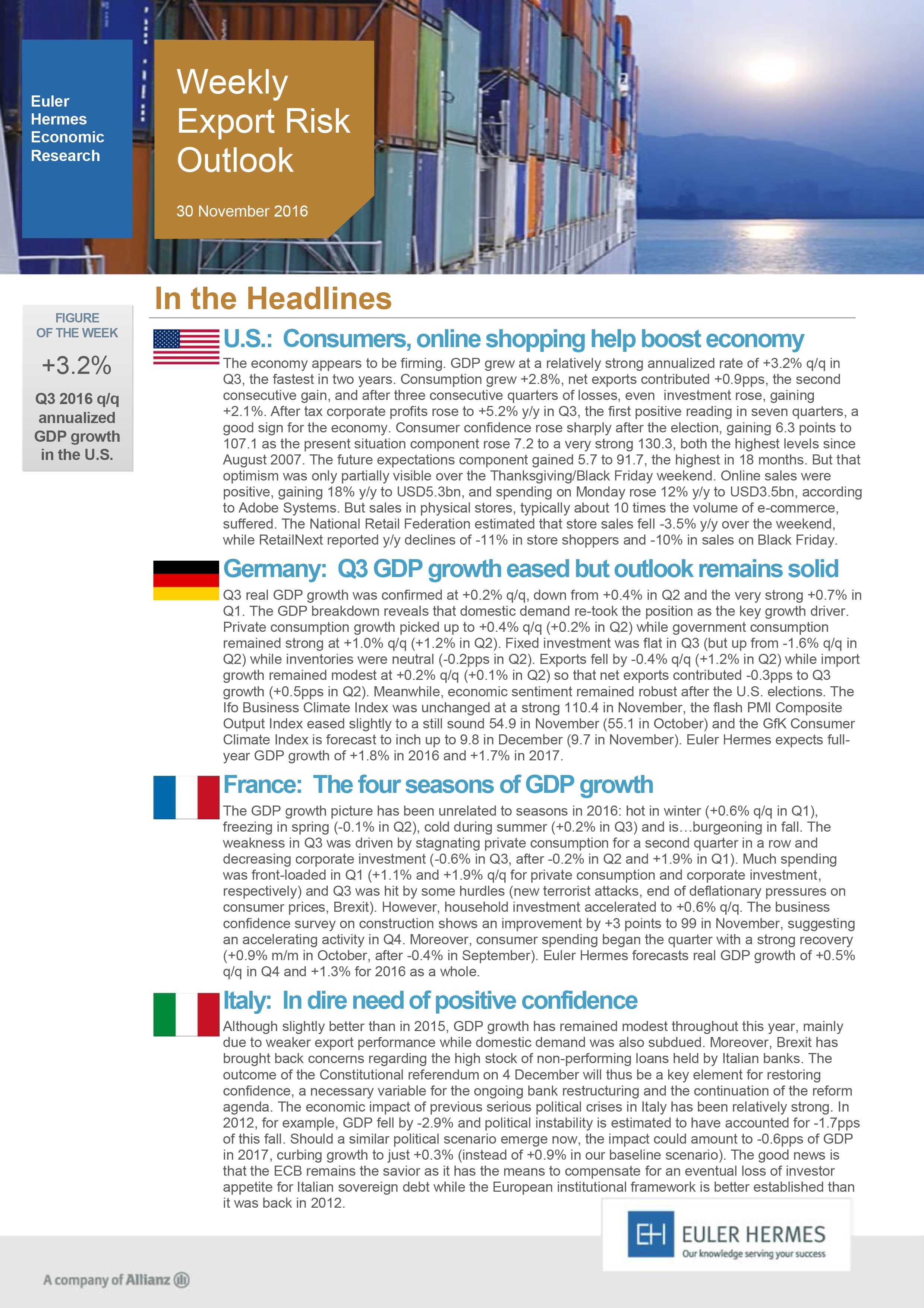 Weekly Export Risk Outlook