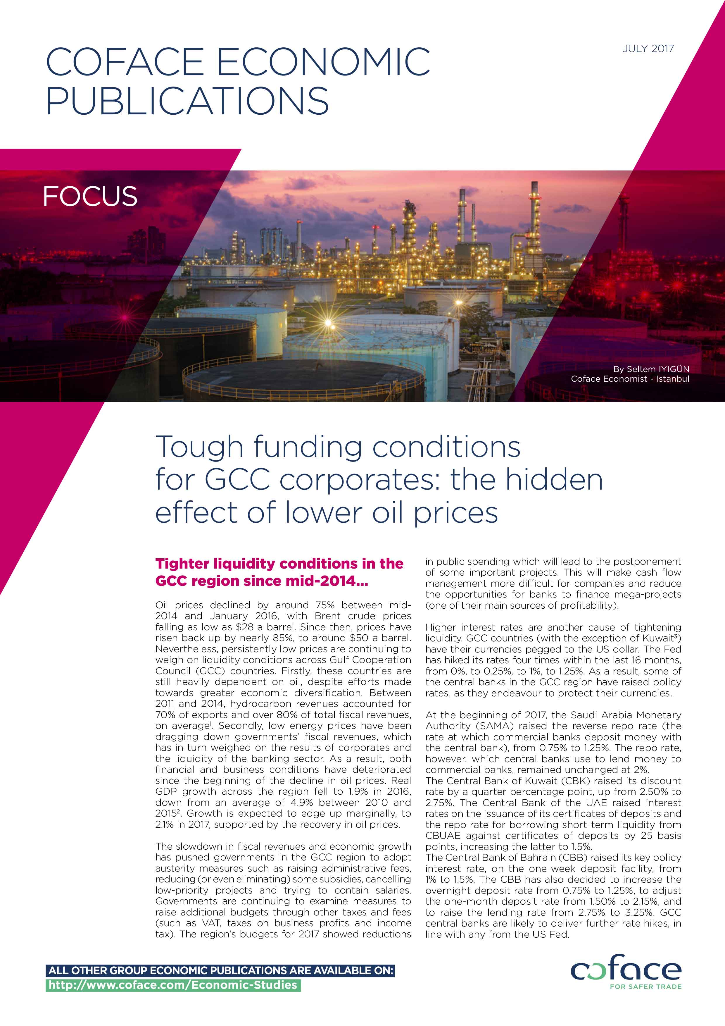 Tough funding conditions for GCC corporates: the hidden effect of lower oil prices
