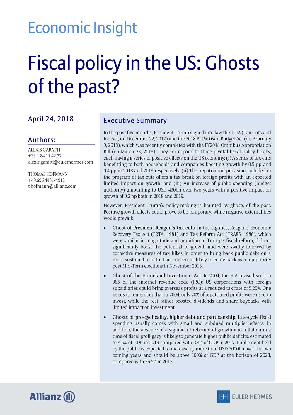 Fiscal policy in the US: Ghosts of the past?