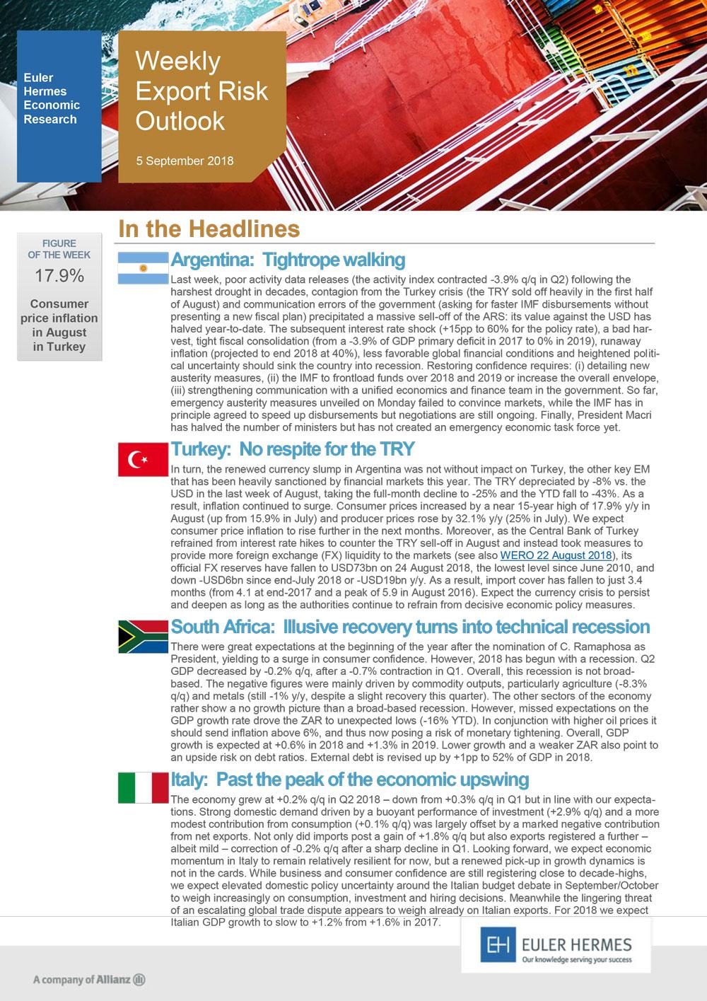 Weekly Export Risk Outlook 05/09/2018