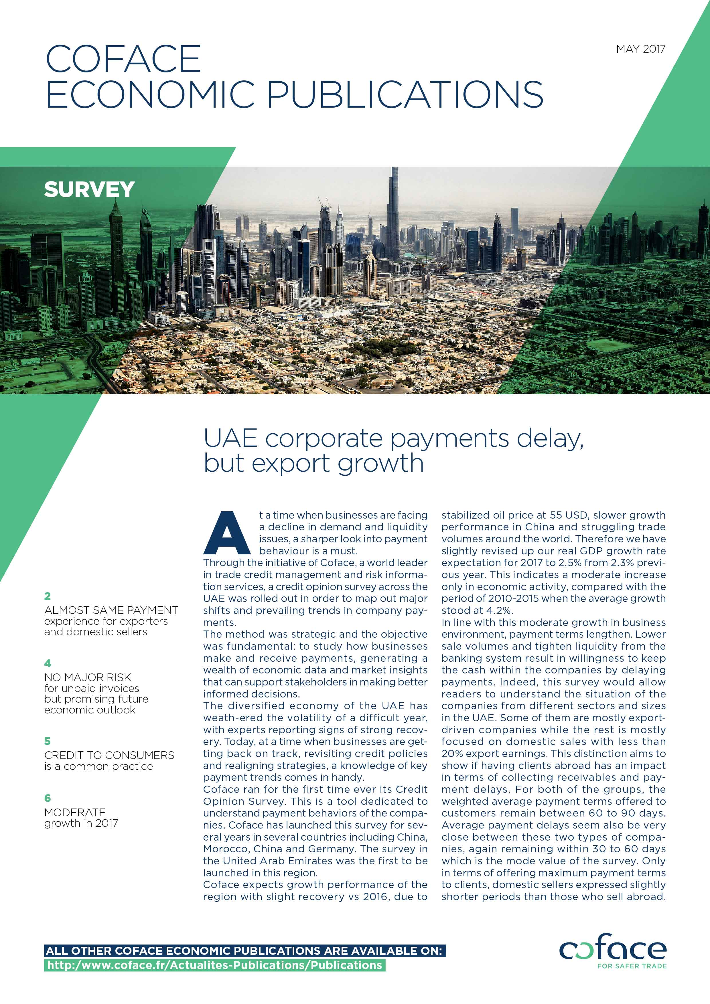 UAE corporate payments delay, butexport growth