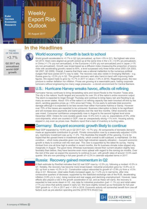 Weekly Export Risk Outlook 30/08/2017