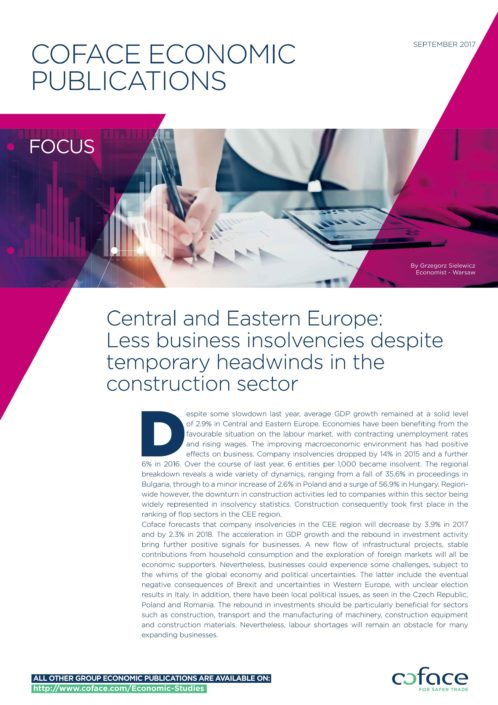 Central and Eastern Europe: Less business insolvencies despite temporary headwinds in the construction sector