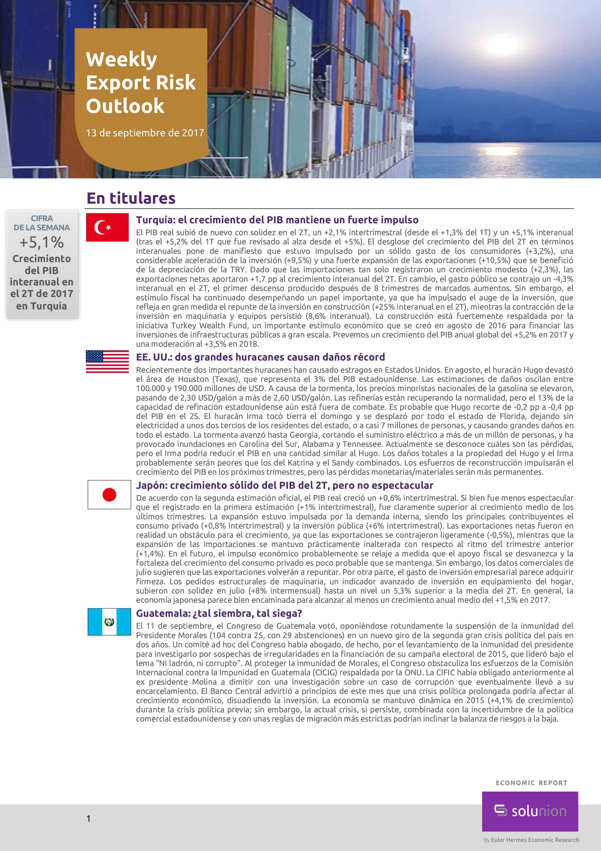 Weekly Export Risk Outlook – 13 de septiembre de 2017