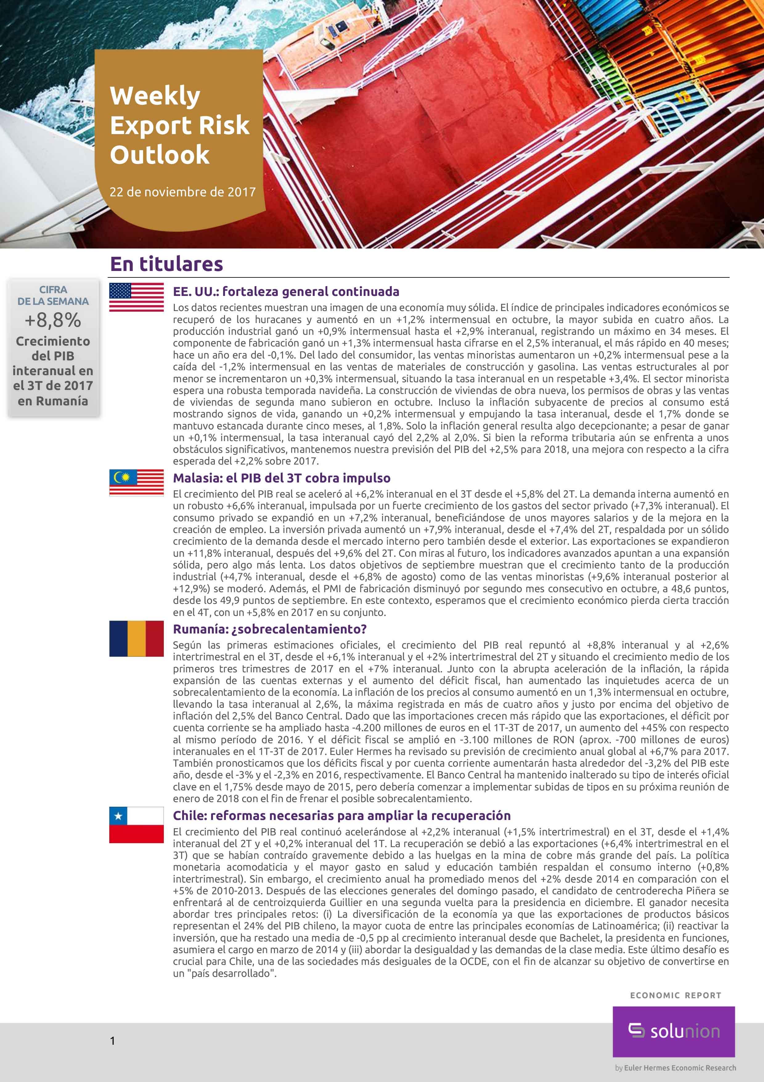 Weekly Export Risk Outlook – 22 de noviembre de 2017