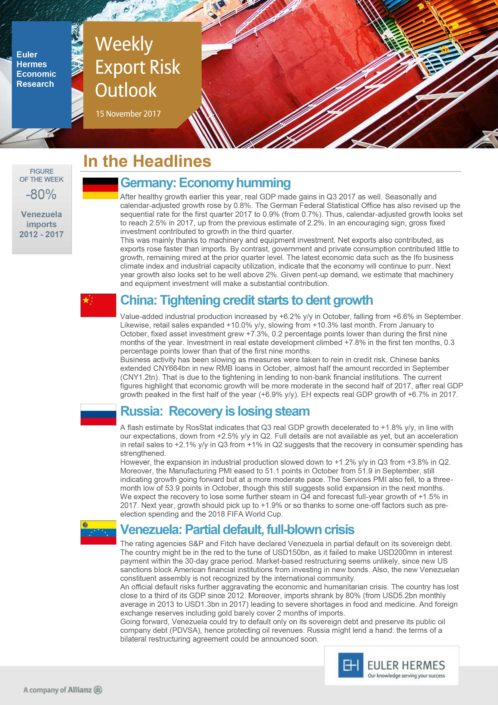Weekly Export Risk Outlook 15/11/2017