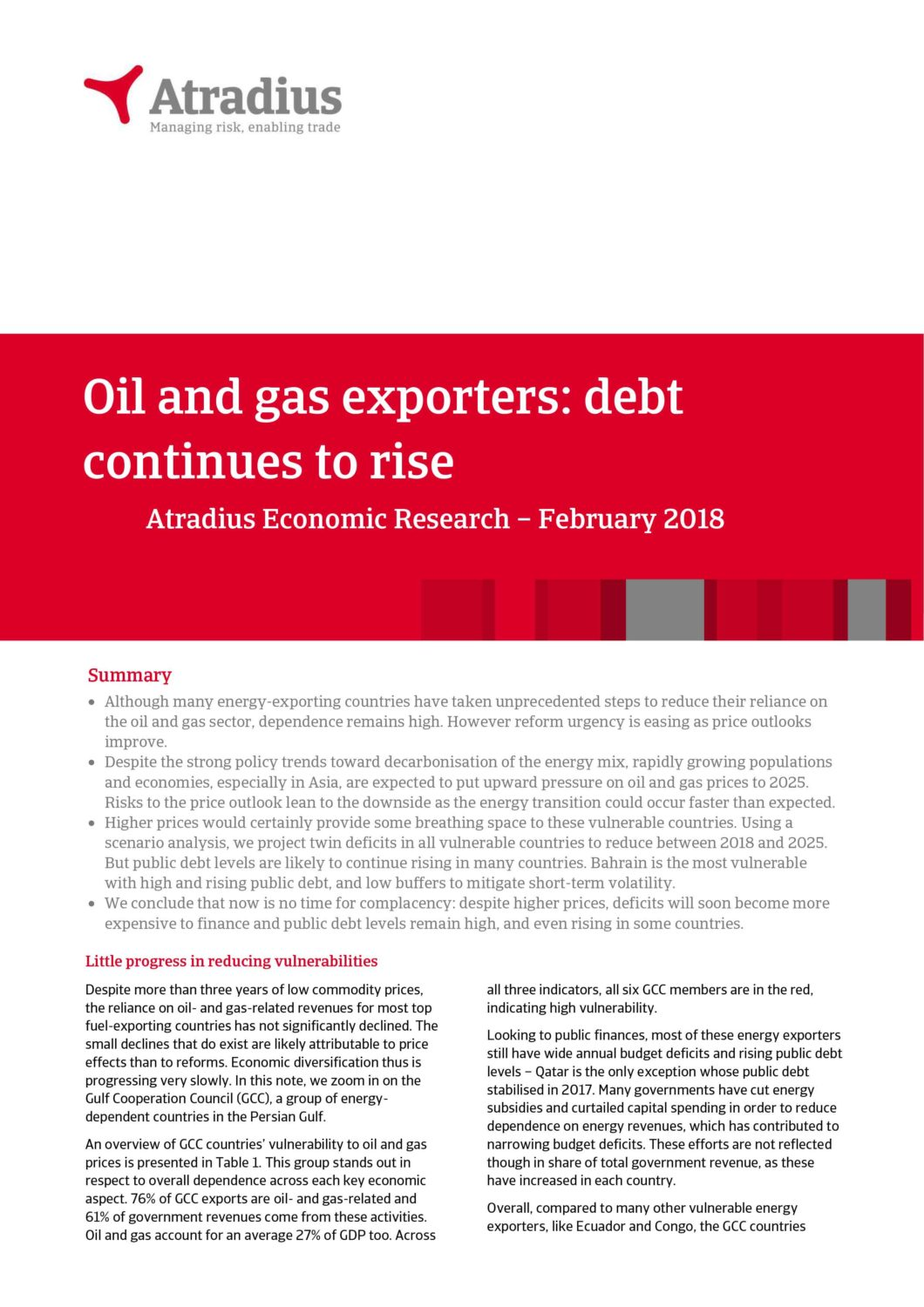Oil and gas exporters: debt continues to rise