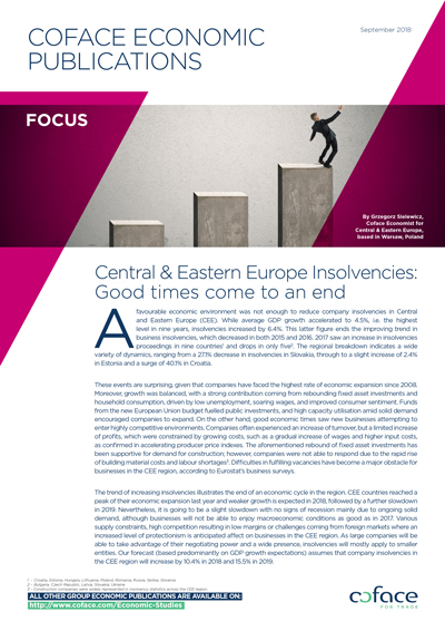 Central & Eastern Europe Insolvencies: Good times come to an end