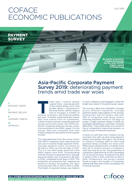 Asia corporate payment survey 2019: deteriorating payment trends amid trade war woes