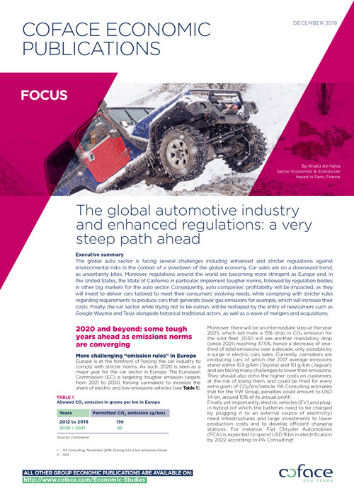 The global automotive industry and enhanced regulations: a very steep path ahead
