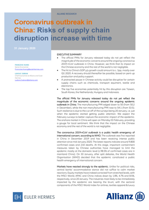Coronavirus outbreak in China: Risks of supply chain disruption increase with time