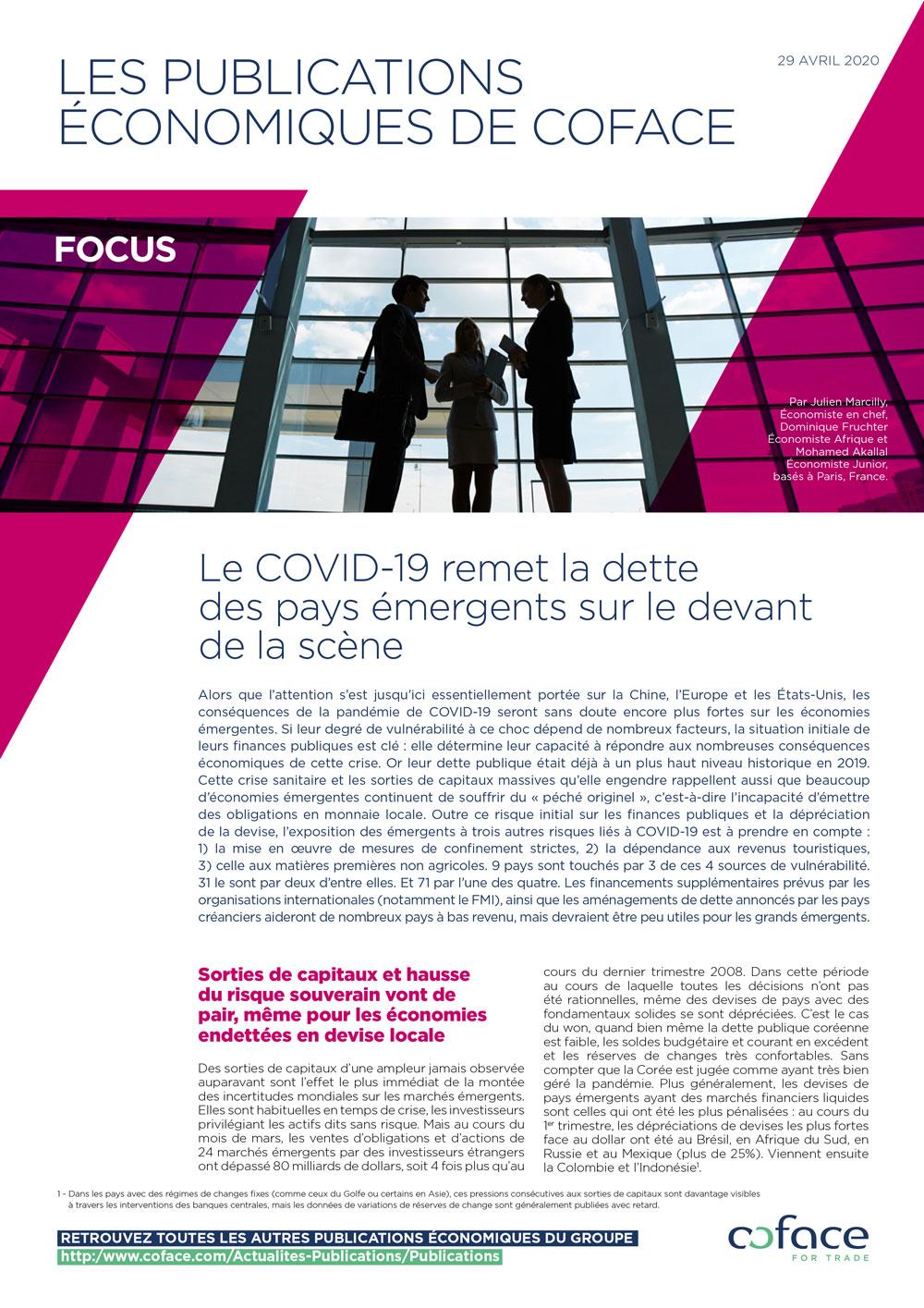 Le COVID-19 remet la dette des pays émergents sur le devant de la scène