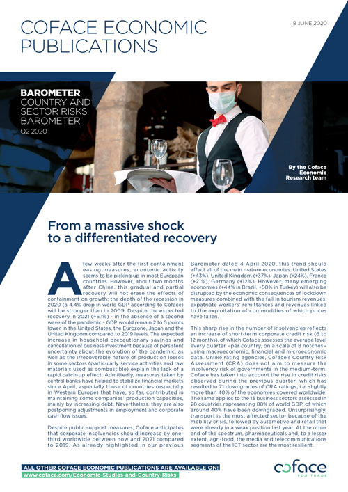Coface Barometer: From a Massive Shock to a Differentiated Recovery