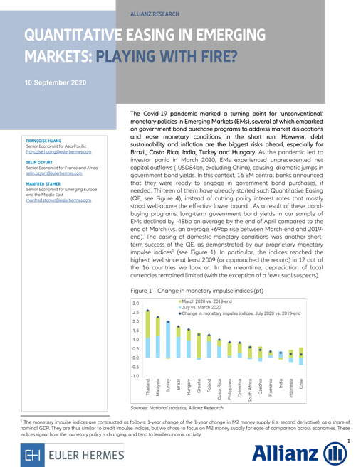 Quantitative Easing in Emerging Markets: playing with fire?